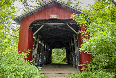 Music Royalty-Free and Rights-Managed Images - Cemetery Road Covered Bridge by Jack R Perry