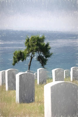 Final Resting Place Digital Art - Cemetery Tree by Brian Goodwin