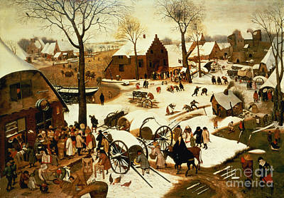 Winter Scene Painting - Census At Bethlehem by Pieter the Elder Bruegel
