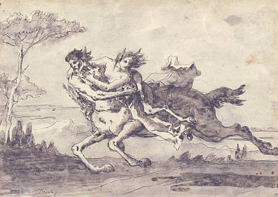 Drawing - Centaur Abducting A Satyress by Giovanni Domenico Tiepolo
