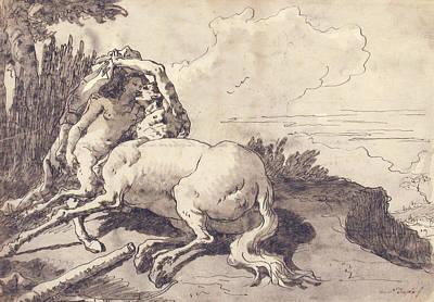 Drawing - Centaur Embracing A Satyress by Giovanni Domenico Tiepolo