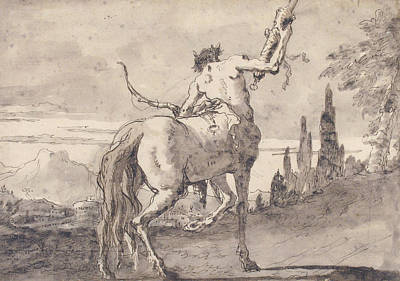 Drawing - Centaur Holding Up A Quiver by Giovanni Domenico Tiepolo