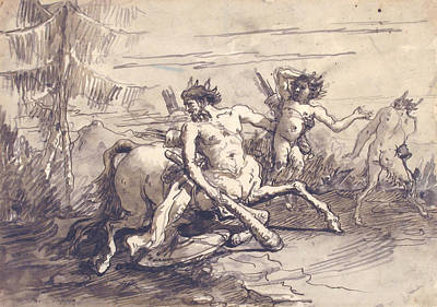 Drawing - Centaur With A Club, And Two Satyrs by Giovanni Domenico Tiepolo
