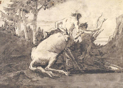 Drawing - Centaur With A Young Satyr by Giovanni Domenico Tiepolo