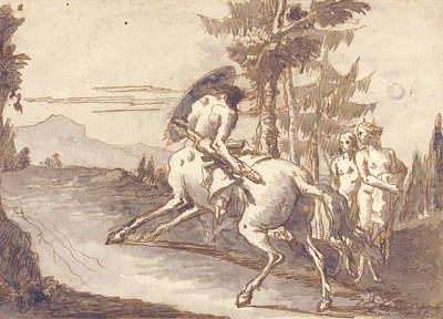 Drawing - Centaur With Shield And Two Satyresses by Giovanni Domenico Tiepolo