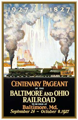 Mixed Media - Centenary Pageant Of The Baltimore - Steam Engine - Retro Travel Poster - Vintage Poster by Studio Grafiikka