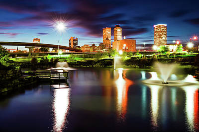 Photograph - Centennial Park Lake And The Tulsa Skyline At Dusk by Gregory Ballos