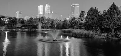 Photograph - Centennial Park Panorama - Black And White - Tulsa Oklahoma Skyline  by Gregory Ballos