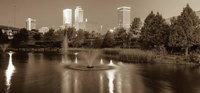 Photograph - Centennial Park Panorama - Sepia - Tulsa Oklahoma Skyline  by Gregory Ballos
