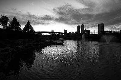 Photograph - Centennial Park Sunset - Tulsa Skyline - Black And White by Gregory Ballos