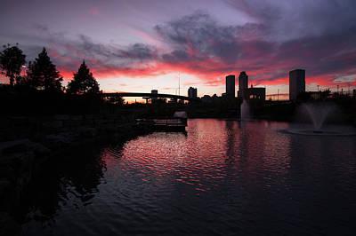 Photograph - Centennial Park Sunset - Tulsa Skyline by Gregory Ballos