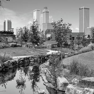 Photograph - Centennial Park Tulsa Skyline View - Square - Black And White by Gregory Ballos