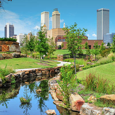 Photograph - Centennial Park Tulsa Skyline View - Square by Gregory Ballos