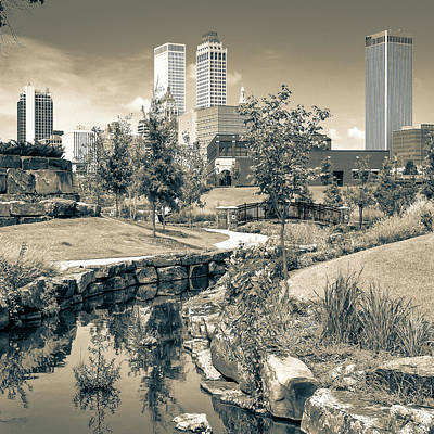 Photograph - Centennial Park Tulsa Skyline View - Square - Sepia by Gregory Ballos