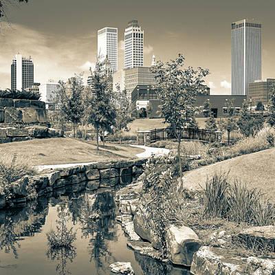 Centennial Park Tulsa Skyline View - Square - Sepia Art Print by Gregory Ballos