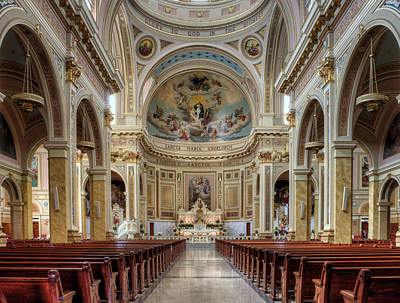 Photograph - Center Aisle - Saint Mary Of The Angels - Chicago by Nikolyn McDonald