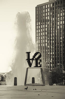 Center City Philadelphia - Love Park In Sepia Art Print