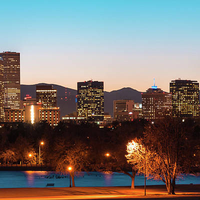 Photograph - Center Panel 2 Of 3 - Denver Colorado Skyline Panoramic by Gregory Ballos