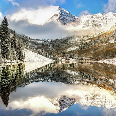 Photograph - Center Panel 2 Of 3 - Maroon Bells Mountain Landscape Panoramic - Aspen Colorado by Gregory Ballos