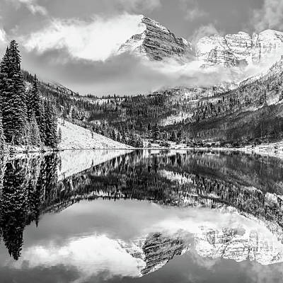 Photograph - Center Panel 2 Of 3 - Maroon Bells Mountain Landscape Panoramic Bw - Aspen Colorado by Gregory Ballos