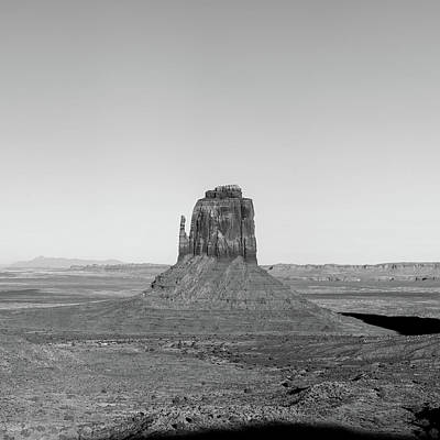 Photograph - Center Panel 2 Of 3 - Monument Valley Buttes Panoramic Landscape At Sunset - Monochrome by Gregory Ballos
