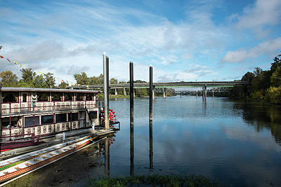 Photograph - Center Street Bridge And Willamette Queen by Tom Cochran