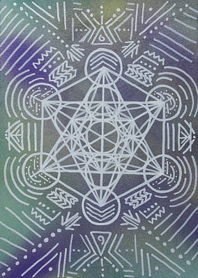Metatron Cube Painting - Centered Cube by Daron Key
