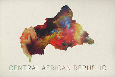 Republic Mixed Media - Central African Republic Watercolor Map by Design Turnpike