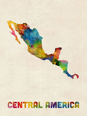 Photograph - Central America And Mexico Watercolor Map by Michael Tompsett