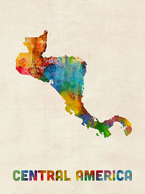 Digital Art - Central America Watercolor Map by Michael Tompsett