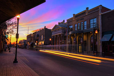 Photograph - Central Avenue At Sunrise - Bentonville Arkansas Skyline by Gregory Ballos