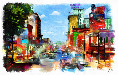 Drawing - Central Avenue In Albuquerque  by Sergey Lukashin