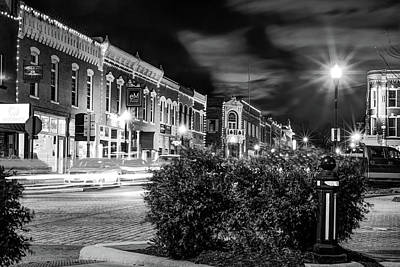 Photograph - Central Avenue Lights - Bentonville Arkansas Skyline - Black And White by Gregory Ballos