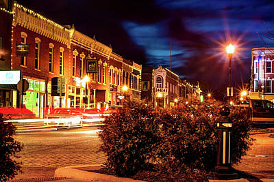 Photograph - Central Avenue Lights - Bentonville Arkansas Skyline by Gregory Ballos