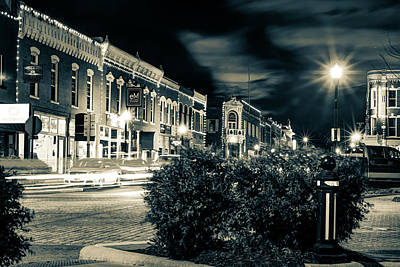 Photograph - Central Avenue Lights - Bentonville Arkansas Skyline - Sepia by Gregory Ballos