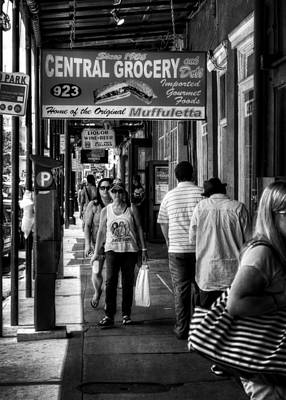 People Photograph - Central Grocery Muffuletta In Black And White by Greg Mimbs
