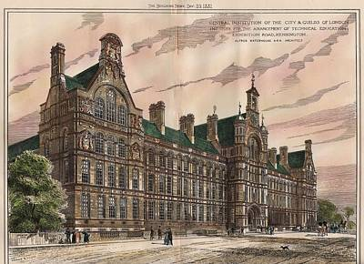 Education Painting - Central Institution Of The Cityy And Guilds Of London And Technical Education. London. 1881 by Alfred Waterhouse