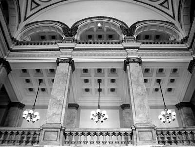 Photograph - Central Library Milwaukee Interior Bw by Anita Burgermeister
