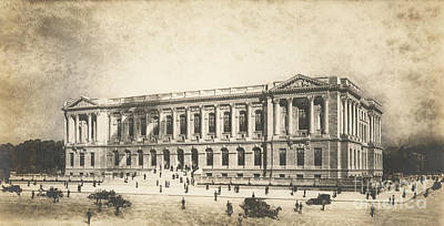 Philadelphia History Drawing - Central Library Of The Free Library Of Philadelphia by Jules Guerin