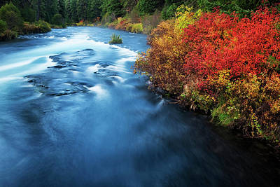 Black Butte Ranch Photograph - Central Oregon's Wild And Scenic Metolius River Rushes Over Wizard Falls And Past Autumn Foliage. by Larry Geddis