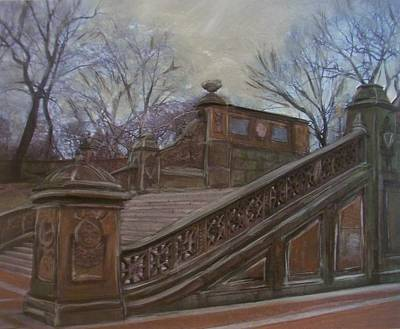 Staircase Mixed Media - Central Park Bethesda Staircase by Anita Burgermeister
