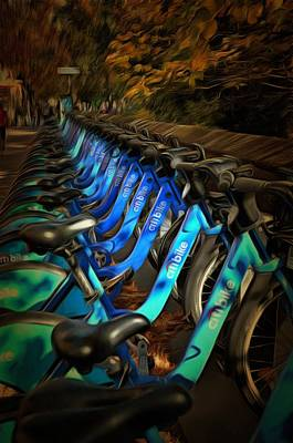 Mixed Media - Central Park Bikes by Trish Tritz