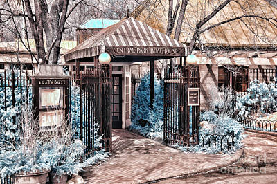Central Park Boathouse In Infared Art Print by Paul Ward