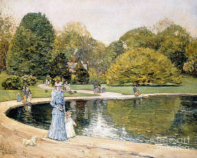 Dog In Lake Painting - Central Park by Childe Hassam