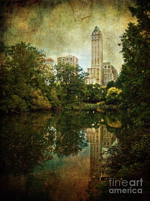 Photograph - Central Park In Autumn Texture 2 by Dorothy Lee