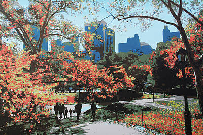 Painting - Central Park In The Fall by The Art House