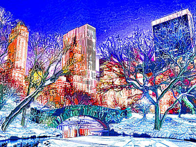 Central Park In The Winter Art Print by Lanjee Chee