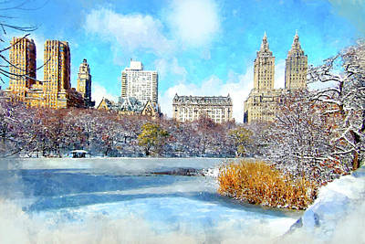 Digital Art - Central Park In Winter by Kai Saarto