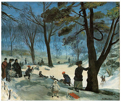 Skating Painting - Central Park In Winter by William Glackens