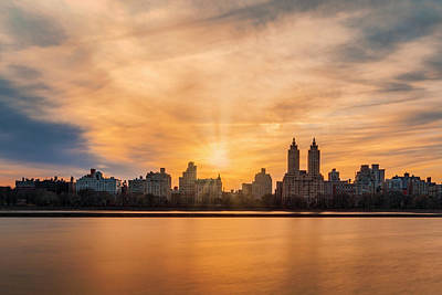 Photograph - Central Park Lake Nyc Skyline by Susan Candelario